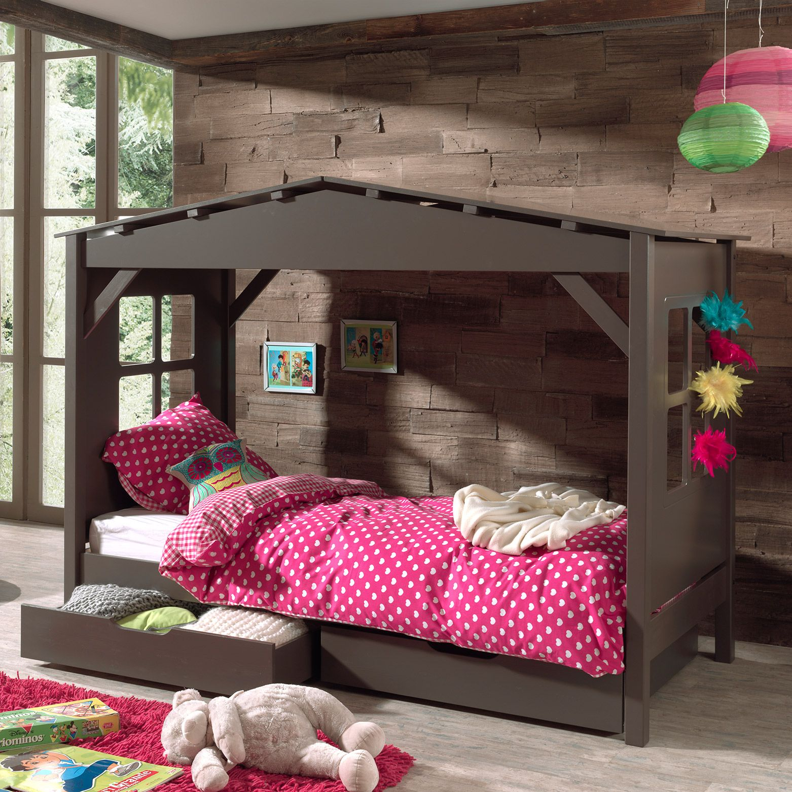 lit cabane en pin massif 90 x 200 cm avec 2 tiroirs de rangement pino ps. Black Bedroom Furniture Sets. Home Design Ideas