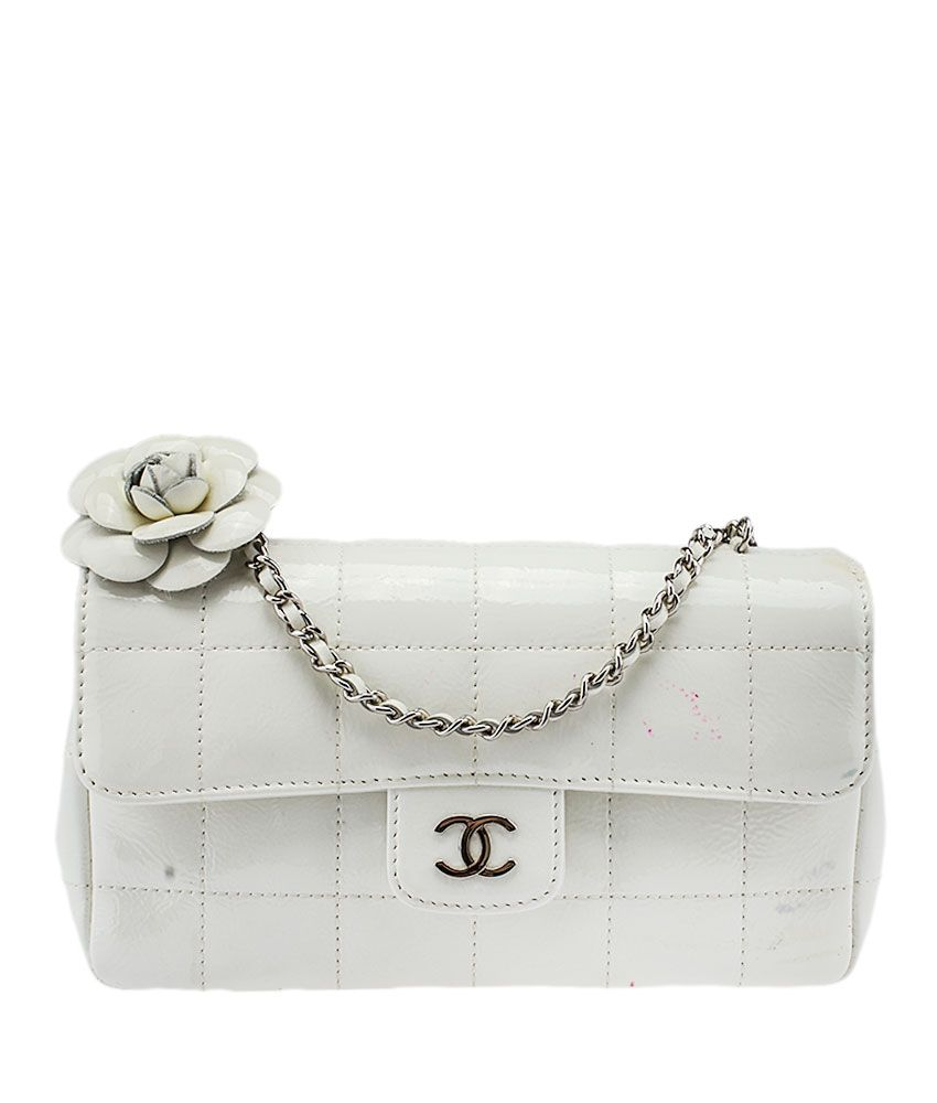 2452fedd3427 Chanel Camellia Flower White Quilted Patent Leather Mini Flap Bag ...