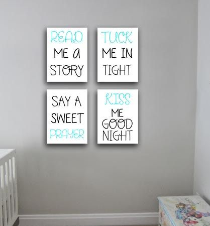 Set of 4 Nursery room, kids room, typography wall decor gift idea ...