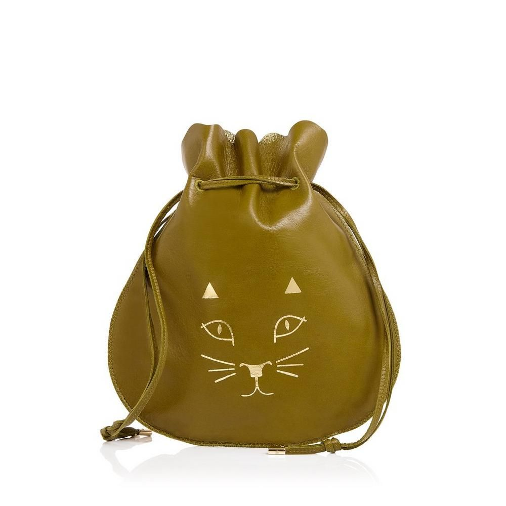 Secure your treasures in Precious Pouch. This oversized olive green leather jewelry pouch is embellished with the signature CO Kitty to charm away intruders.  |Charlotte Olympia