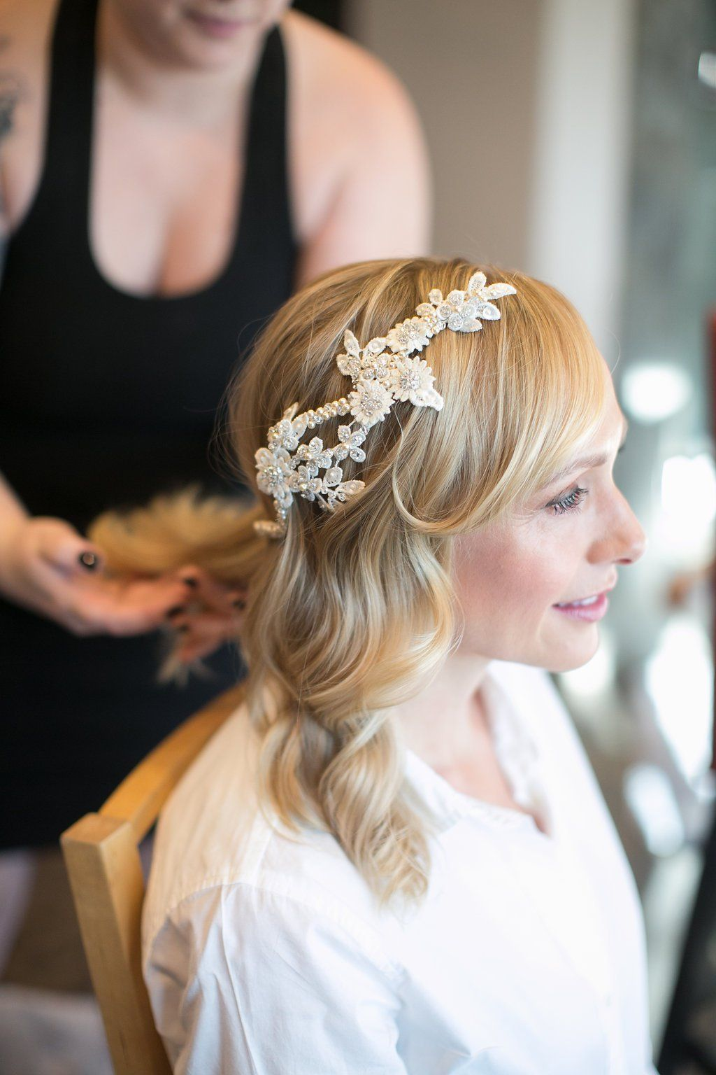 bride with lace and flower headpiece, hair & makeup by amber