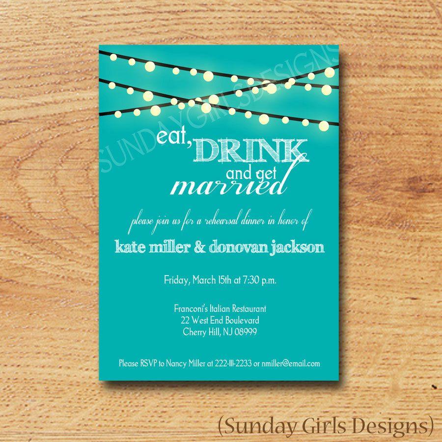 Rehearsal Dinner Invitation-Digital Custom Card-Under the ...