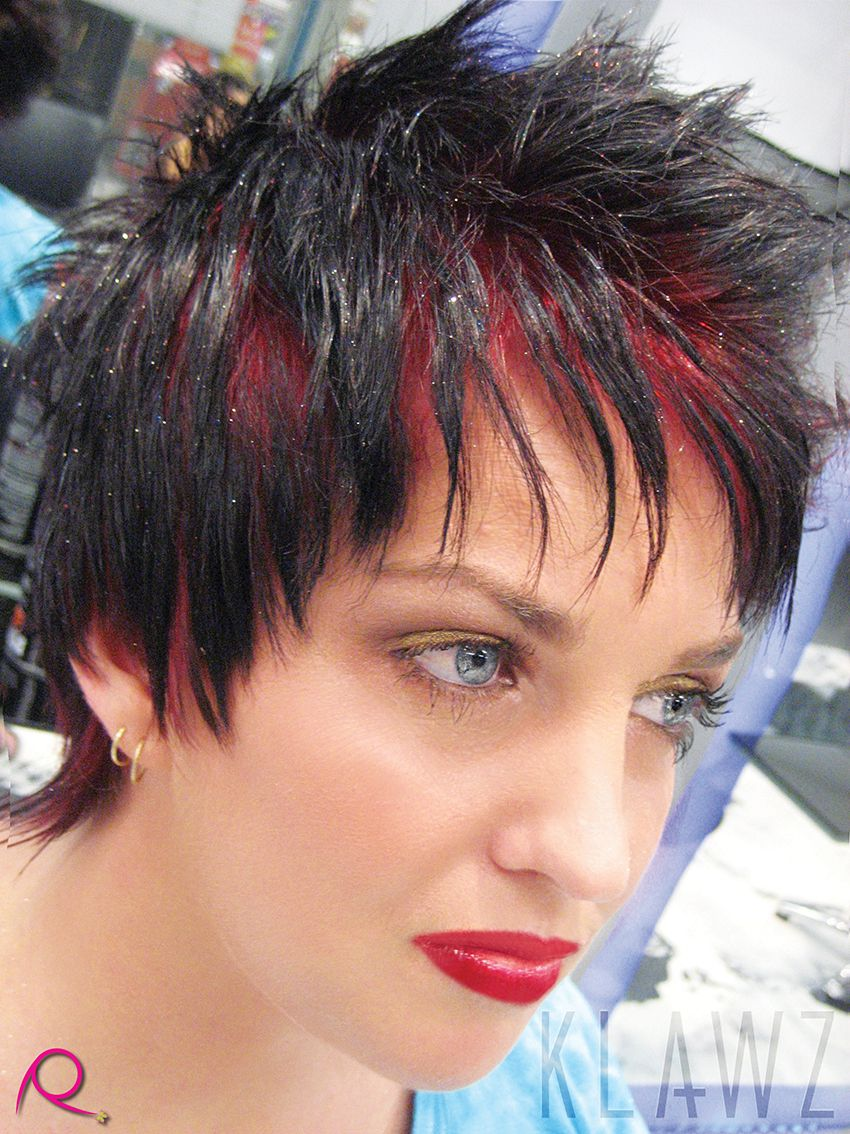 Short hair black with bright red roots and glitter hairspray