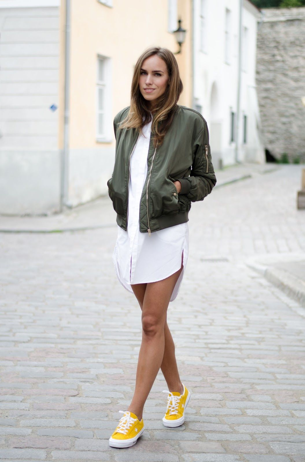 Bomber jacket shirt dress yellow sneakers outfit outfits