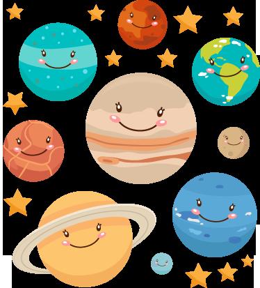 sticker-planetas-sistema-solar-5658.png (374×413) | Planetas, Fiesta espacial, Niños