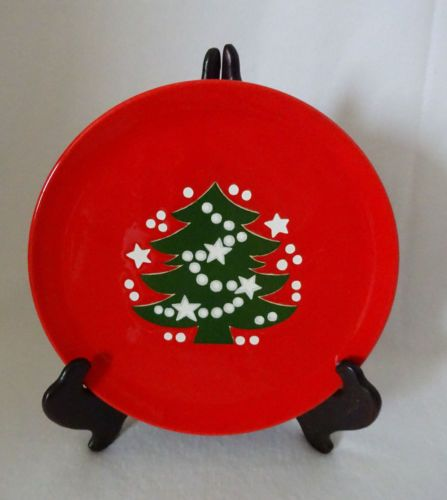 Vintage Waechtersbach West Germany Christmas Tree 7 3/4  Red Salad Dessert Plate & Vintage Waechtersbach West Germany Christmas Tree 7 3/4