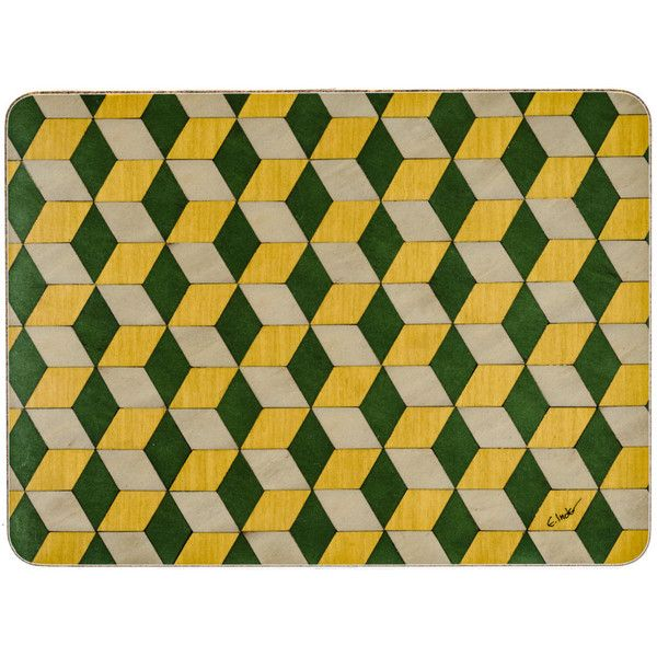 2 Green Tablecentre Decor Table Placemats Modern Place Mats Geometric 41 Liked On Polyvore Featuring Home Kitche Green Placemats Placemats Green Table