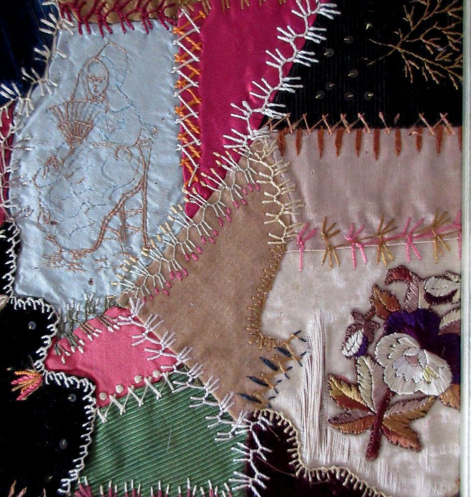 Antique 1883 Crazy Quilt Piece Framed Embroidered Silk Velvet Lady & Hand Fan