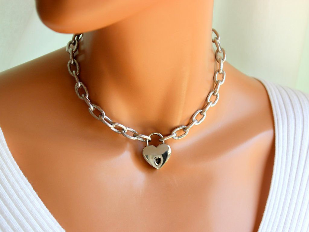 Heart Thick Chain Women Necklace.
