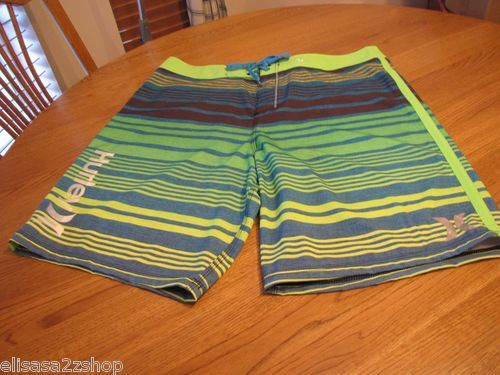 Men's Hurley board shorts swim surf skate 38 Phantom neon green blue silver NEW