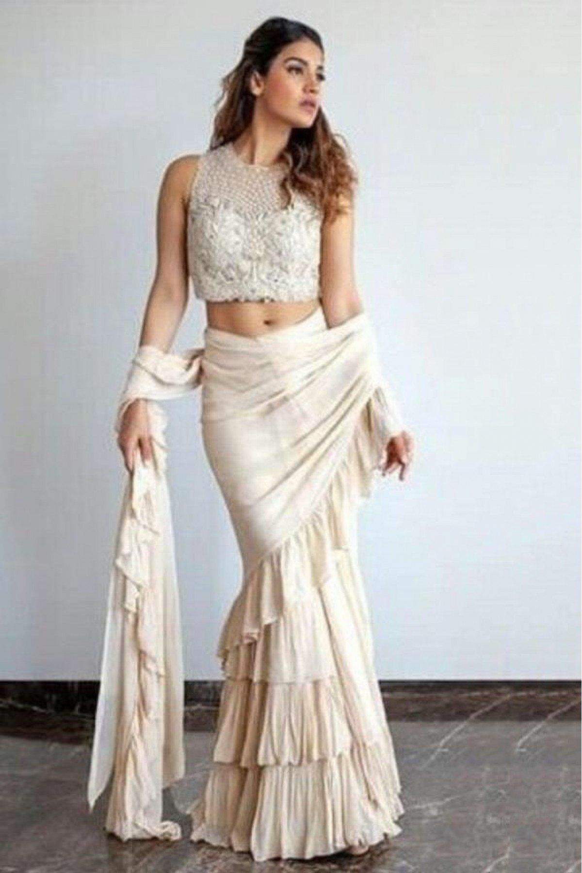 0d922e5e8eb Off White Colour 60 GM Georgette Fabric Saree Comes With Matching Blouse  Fabric. This Saree Is Crafted With Ruffle. This Saree Comes With Unstitched  Blouse ...