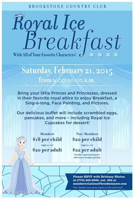 Princess Breakfast Party flyer poster template Princess Party - club membership template