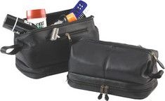 Click Image Above To Buy: Royce Leather Toiletry Bag With Zippered Bottom 260-3 - Black Leather