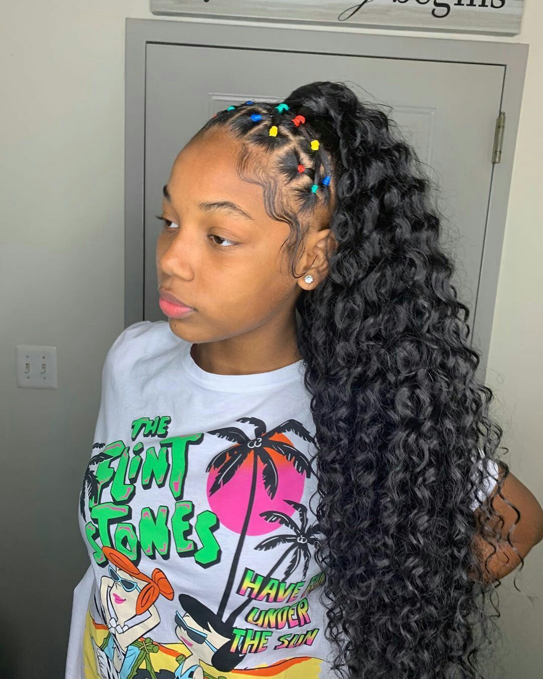 Medium Length Curly Hair Rubber Band Hairstyles