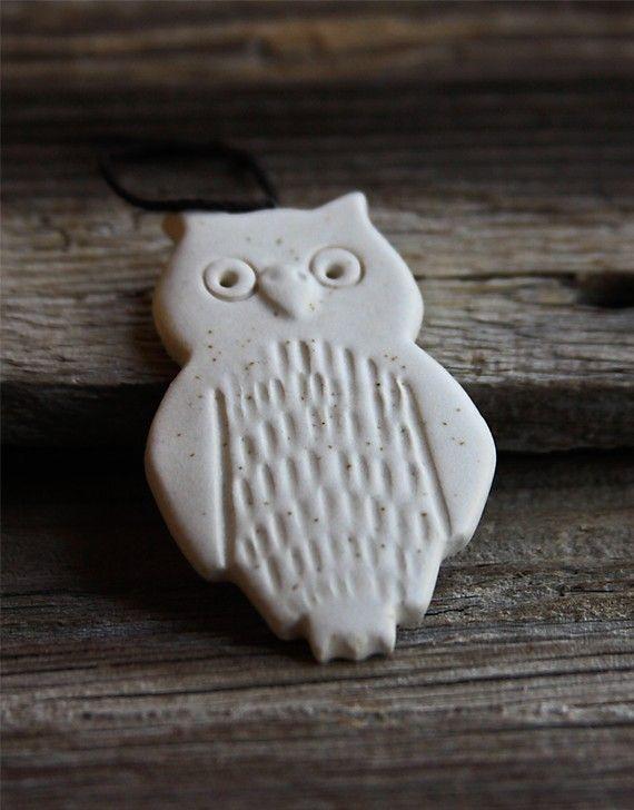 Handmade Pottery Owl Ornament by Tasha McKelvey #owls $12.00