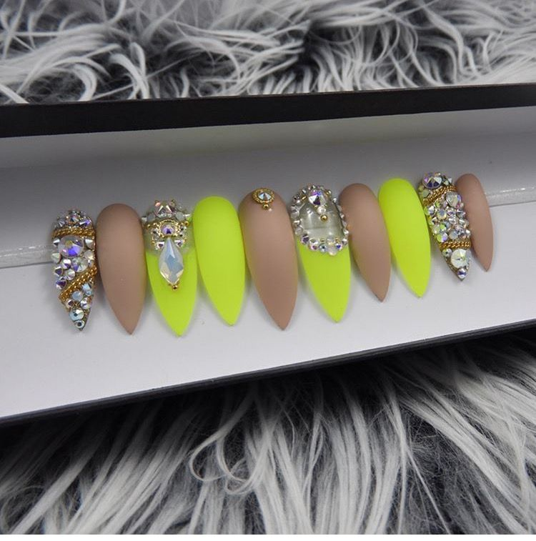 Neon and nude bling press on nails | Nails | Pinterest | Diseños de ...