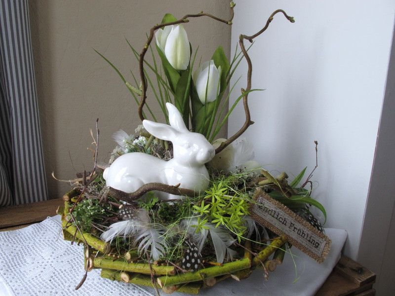 Photo of Table arrangement ++ * + Easter bunny + guarded + the + eggs + * + from + KRANZundCo. + On + DaWanda.com
