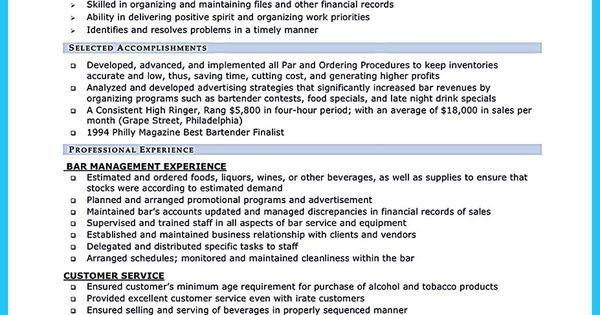 Best Bartender Resume Custom Impress The Recruiters With These Bartender Resume Skills  Vina .
