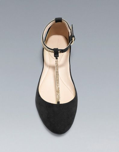 338a55b52a8 T-BAR BALLERINA SHOES WITH CHAIN DETAIL - Woman - New this week - ZARA  United States