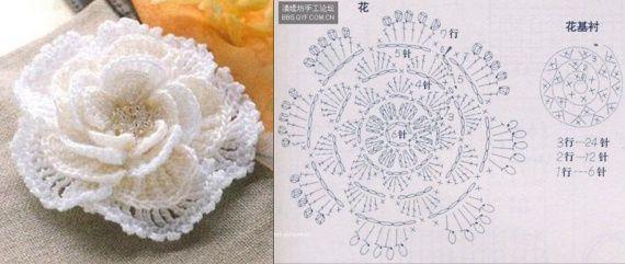 Объемный цветок крючком схема 37