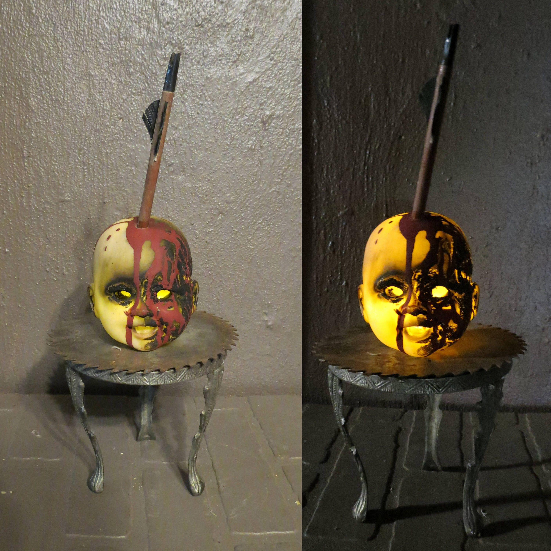 Creepy Doll Head Light Up Halloween Decoration, Battery