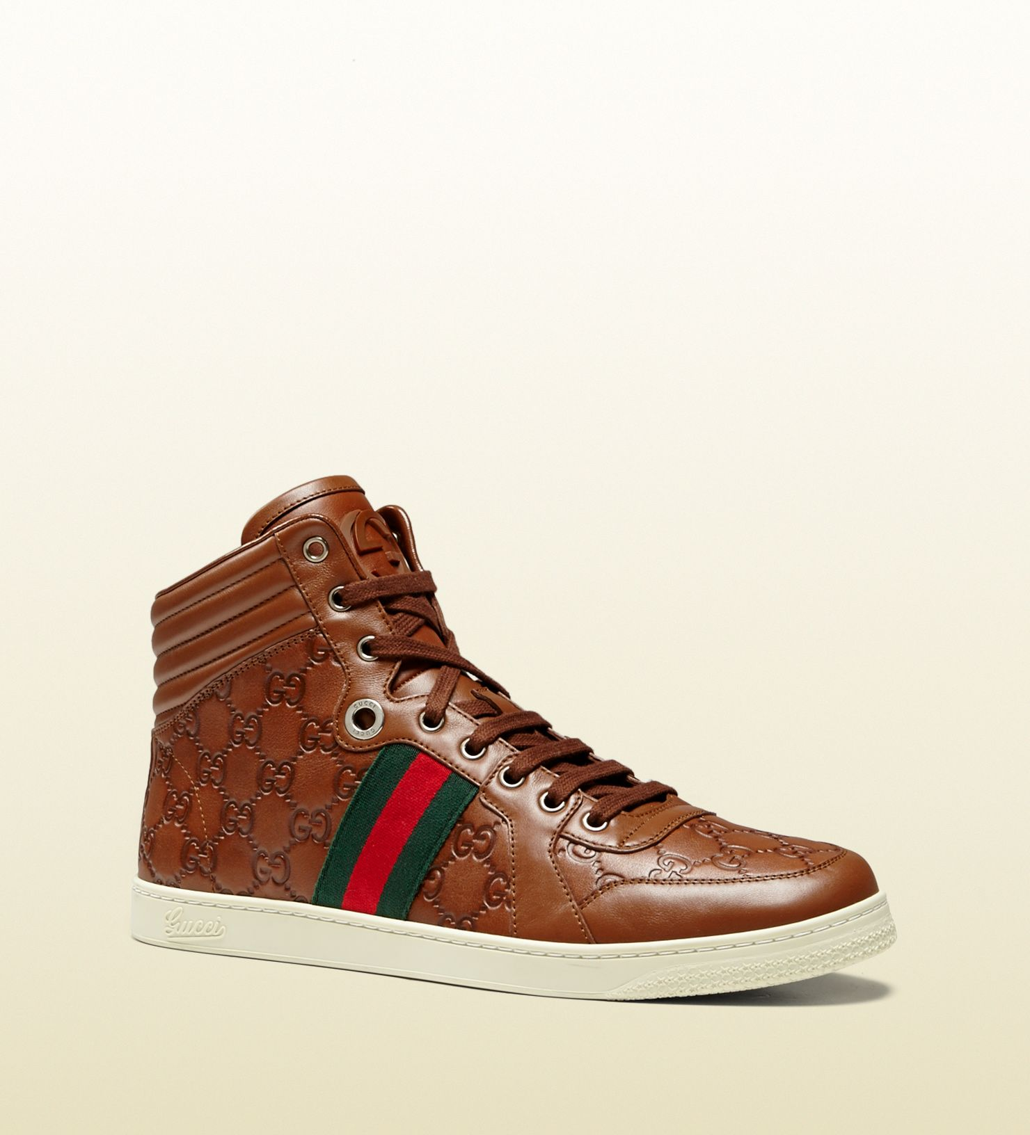 8b5e02f83c2ac Gucci - hi-top lace-up sneaker with interlocking G and signature web detail.  221825A9L902571 US 13 in these