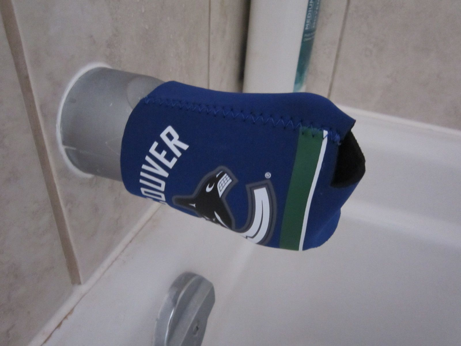 A cheap way to cover your faucet to keep your kids from bumping ...