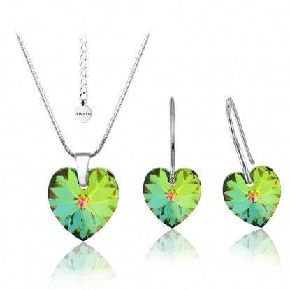 Dámsky set - náhrdelník a náušnice s kryštálmi Swarovski® BOKACHA - zelená