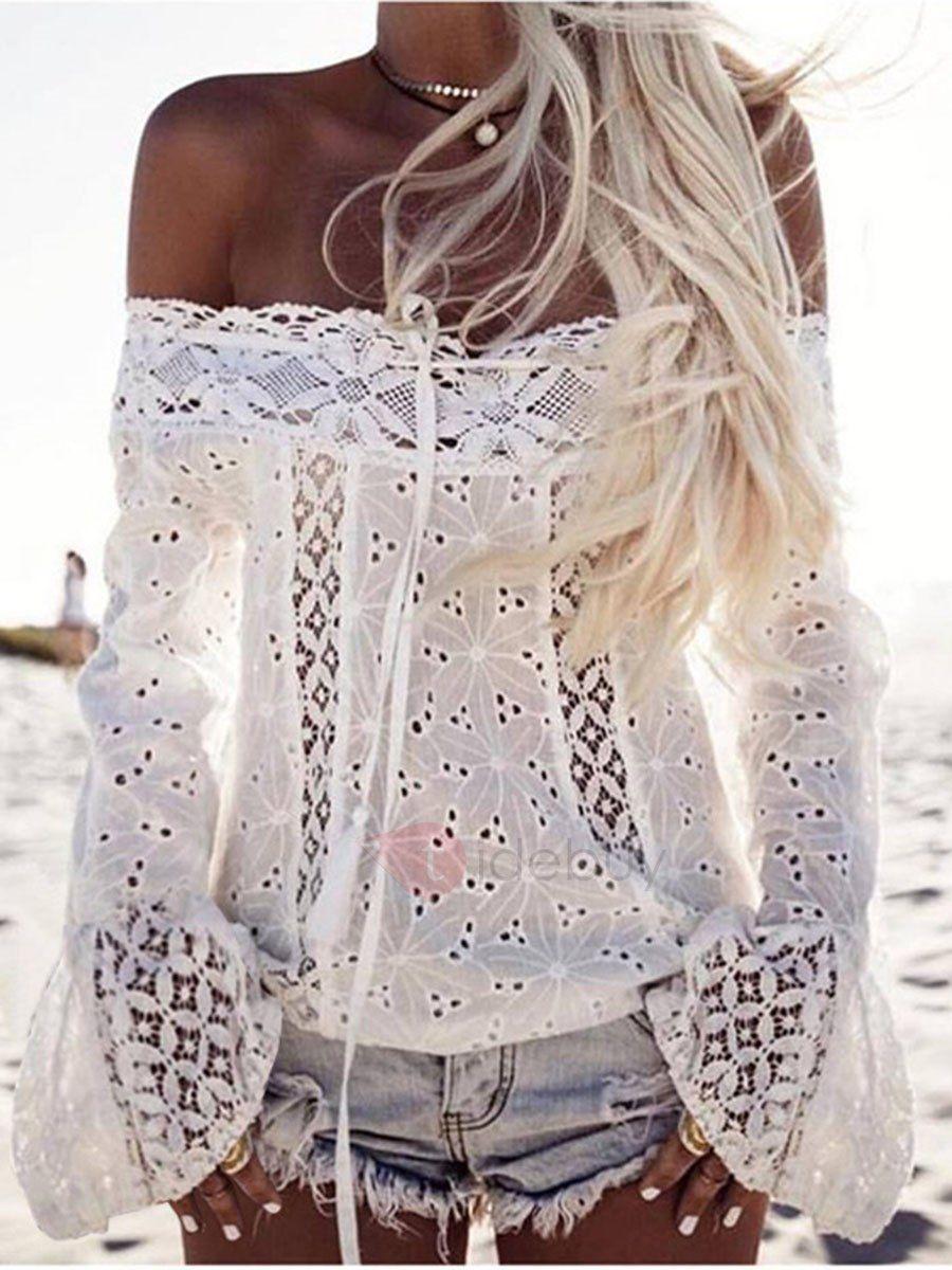 Blusa Camiseta de Encaje Hombros Descubiertos | Patrones | Pinterest ...