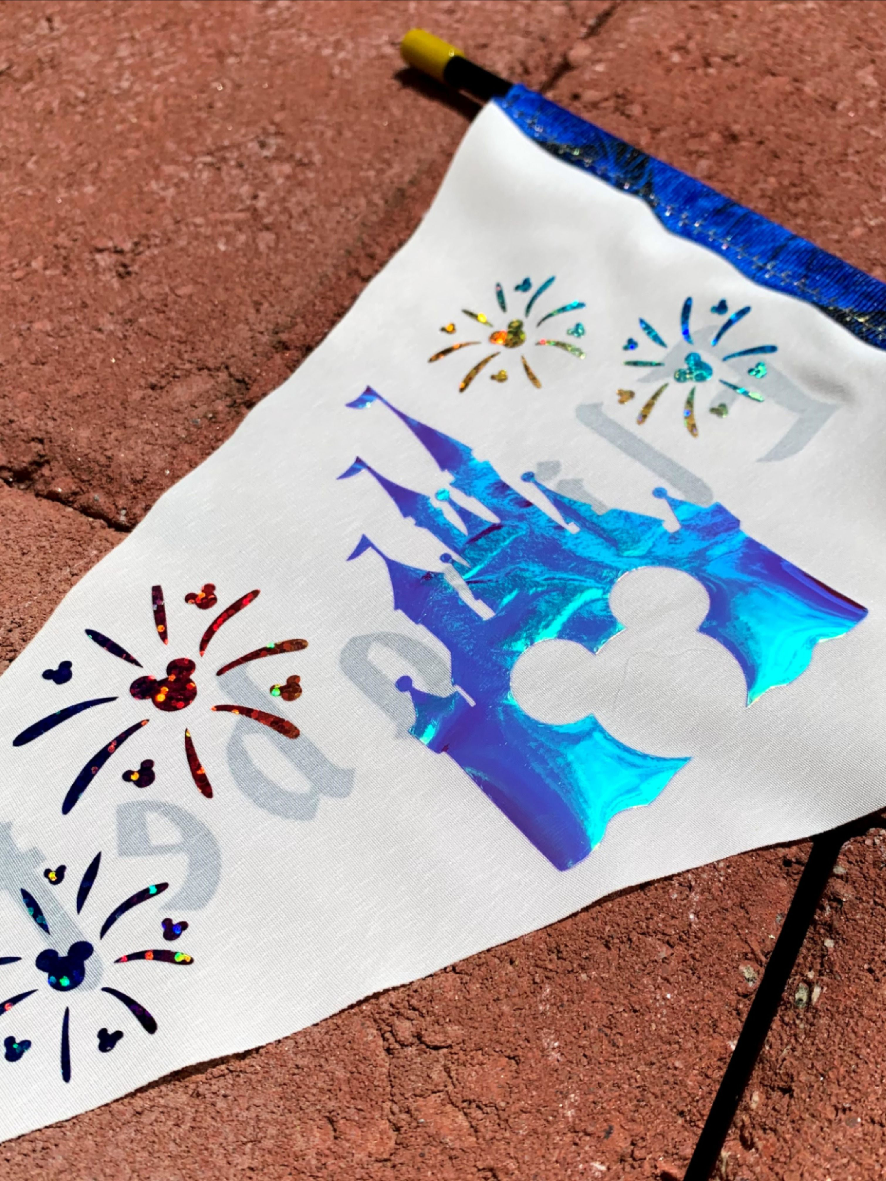 Disney Inspired Flag Spotter Personalized For Stroller Etsy In 2020 Handmade Flags Magic Kingdom Disney Hats