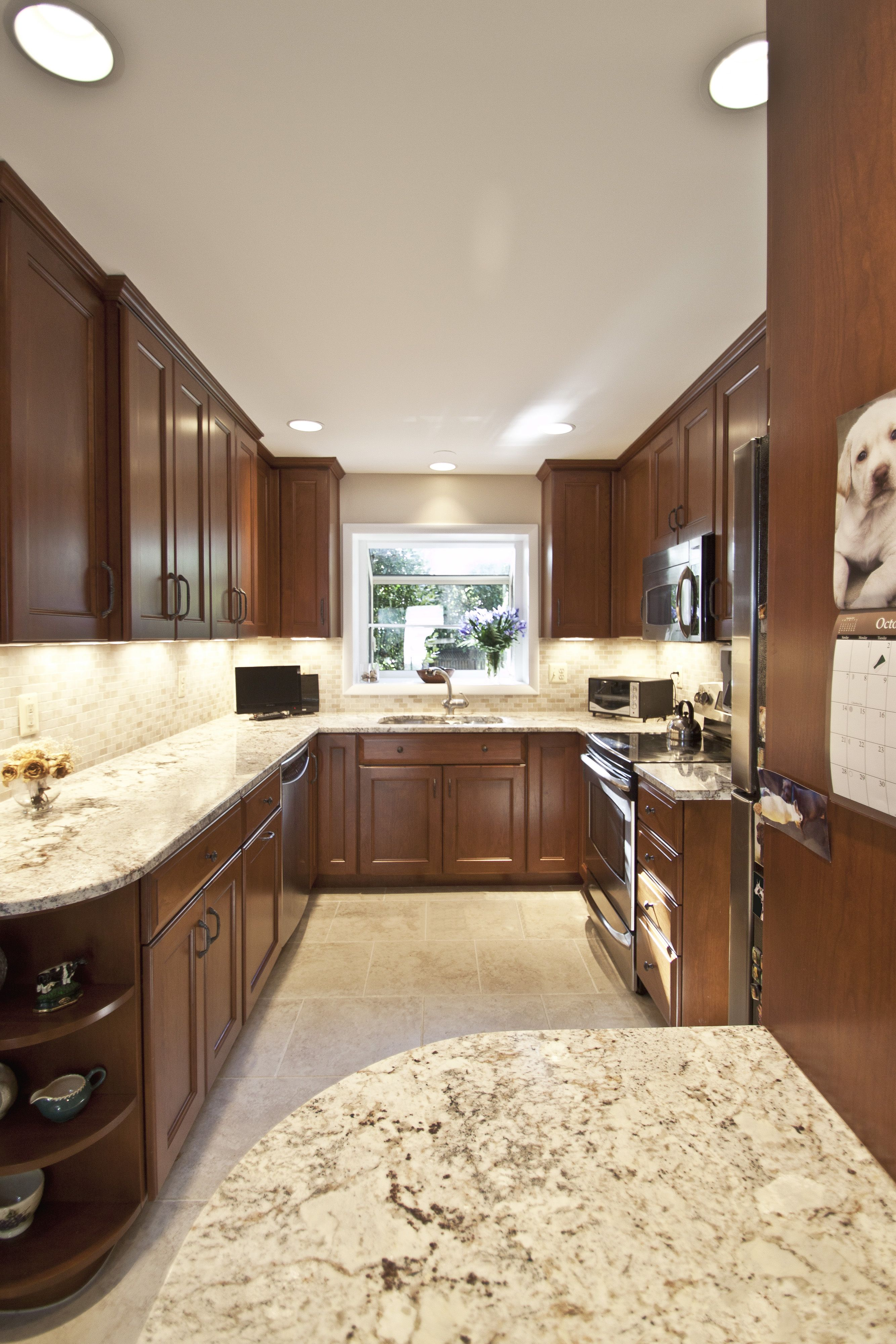 Cherry Wood with Custom Stain # CS-3121   Kitchen cabinet ...