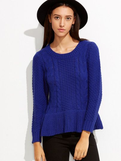 Royal Blue Ruffle Hem Cable Knit Sweater | Fashion | Pinterest ...
