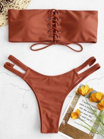 c3dfe328988a5 Lace-up Strapless Bikini Set in 2019 | Fitness | Bikinis, Zaful ...