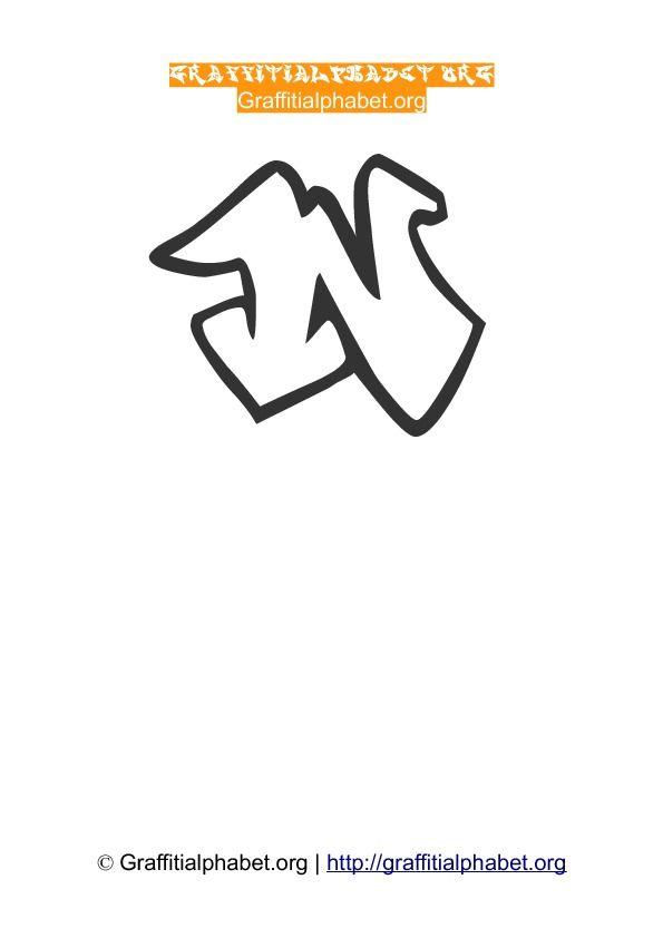 Graffonti Wildstyle Graffiti Alphabet N  letras paraa carteles
