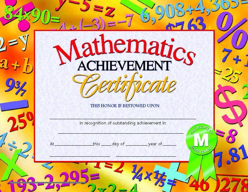 Hayes Mathematics Achievement Certificate, 8-1/2 X 11 in, Paper