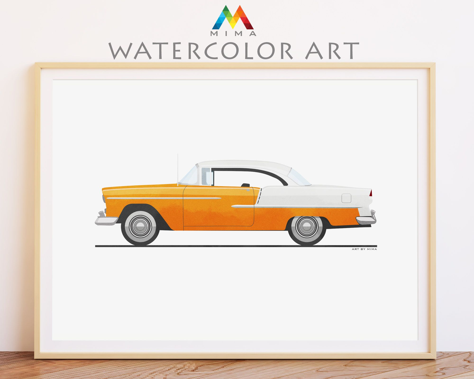 Classic Retro Car Printable Wall Art Poster Chevrolet Bel Air Etsy Printable Wall Art Poster Wall Art Car Wall Art