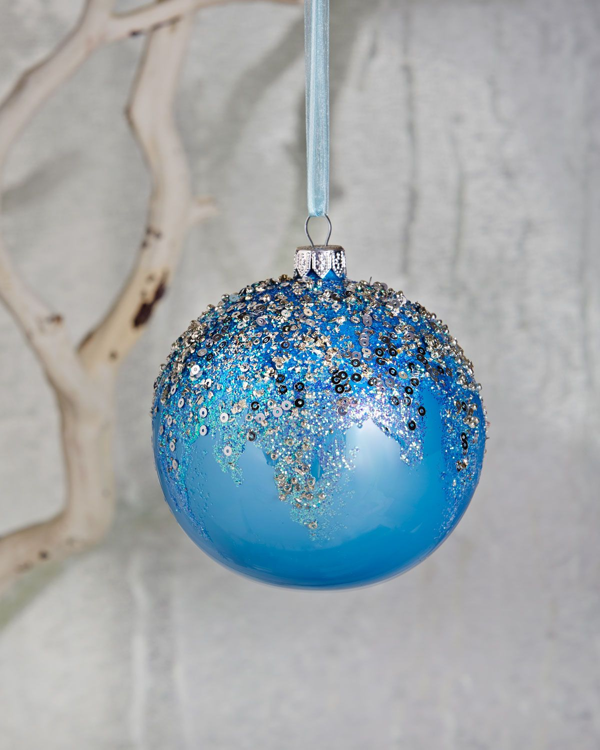 Silver-Embellished Blue Opalescet Ball Christmas Ornament ...