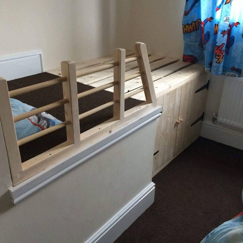 Bed Over Stair Box With Storage And Stairs: Bed Made With Guards To Stop Toddler Falling Out Of Bed