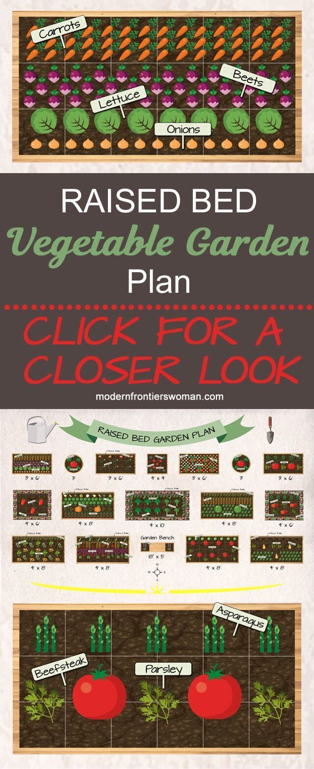Bed Vegetable Garden Plan Click for an up close look at this potager design layout for a raised bed vegetable garden. The detailed diagrams have great examples of companion planting and intercropping.Click for an up close look at this potager design layout for a raised bed vegetable garden. The detailed diagrams have great examples of companion p...