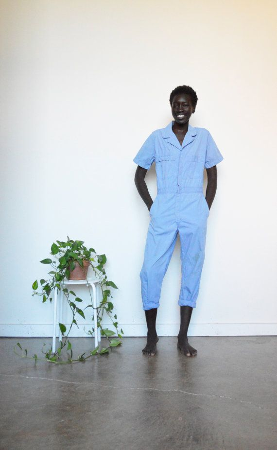 70s COVERALLS / Blue COTTON Coveralls / Work MECHANIC Coverall