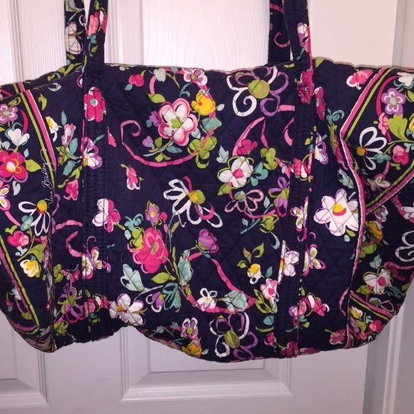 VERA BRADLEY Excellent Condition!  Just washed for resale!  Xtra large size DUFFLE with outer pockets and zip closure.  Beautiful print...  RIBBONS Vera Bradley Bags Travel Bags