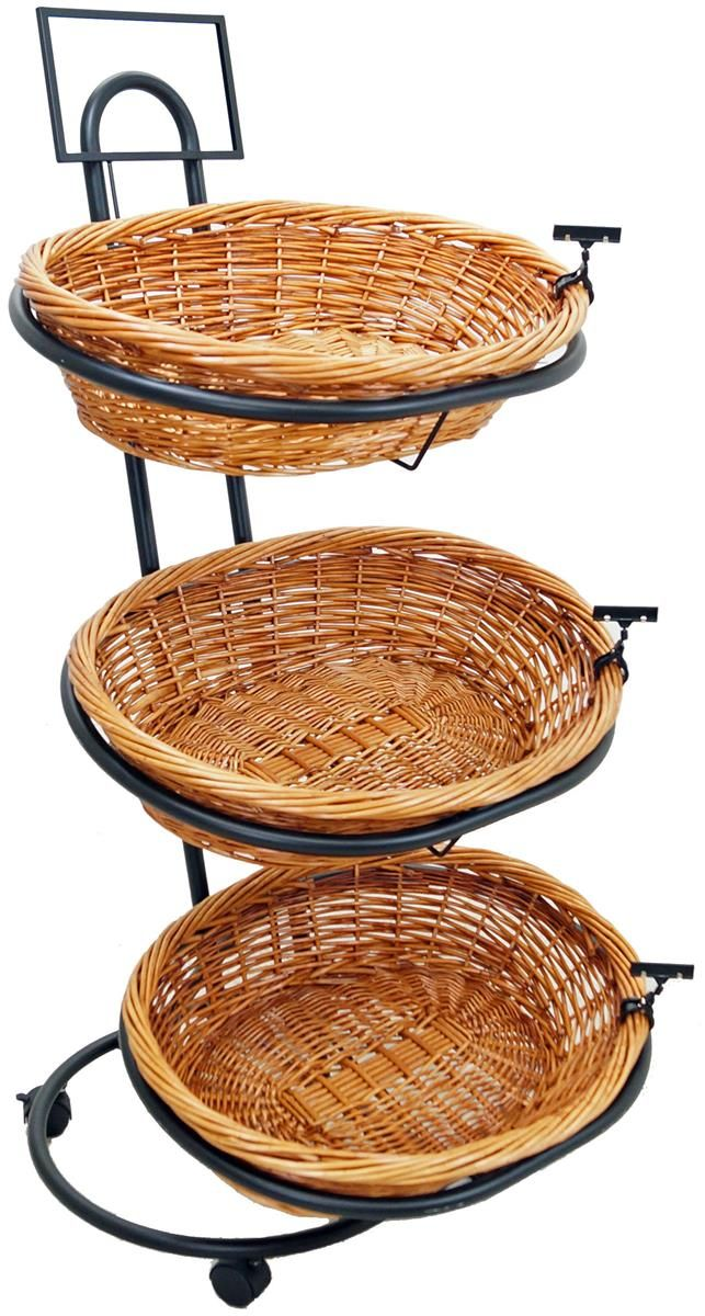 3 Tier Basket Stand Rolling Wicker Black Grocery Store