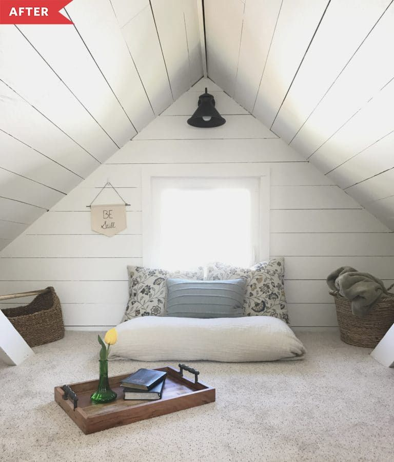 5 Dreamy Attic Remodels That Take Cozy Style All The Way To The Top In 2020 Loft Room Attic Renovation Big Floor Pillows