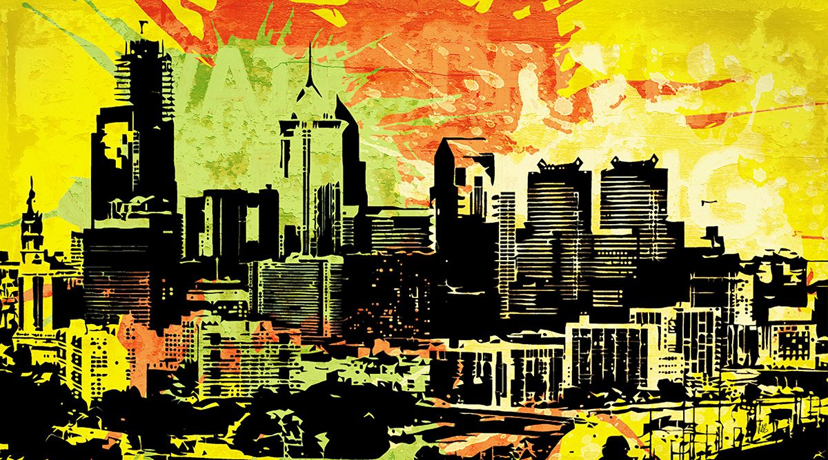 Pop City 1 by Melissa Smith – Urban Art District. | Paint splatters and textures combine with urban scenes to create modern and interesting pieces of art.  Hang as a stand-alone print or order a couple and display as a stylish grouping.  Either way, your guests will fall in love with your artistic insight.  SHARE if you ♥ it!