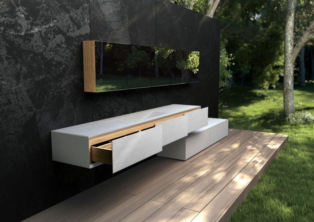 Elegante mueble de ba o en m rmol y madera por estudio for Mueble de bano de diseno de madera