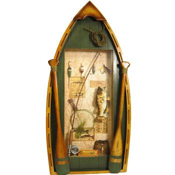 Fishing Boat Shadow Box, with first big fish pic | for kids room ...