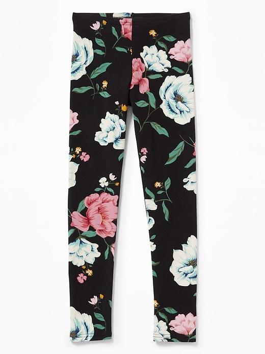 a089eaf09a252f Old Navy Girls' Jersey Full-Length Leggingss Black Floral Regular Size M