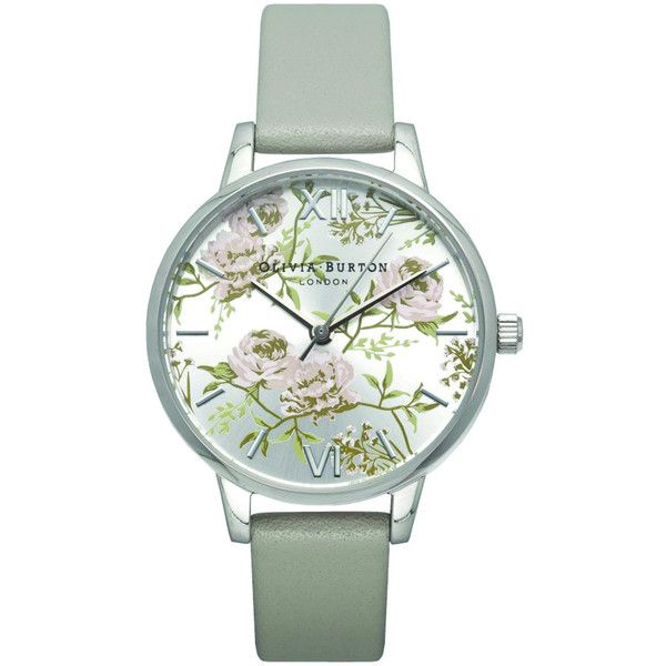 Olivia Burton Parlour Midi Dial Watch - Grey & Silver (€105) ❤ liked on Polyvore featuring jewelry, watches, silver jewelry, silver watches, floral watches, dial watches and silver wrist watch