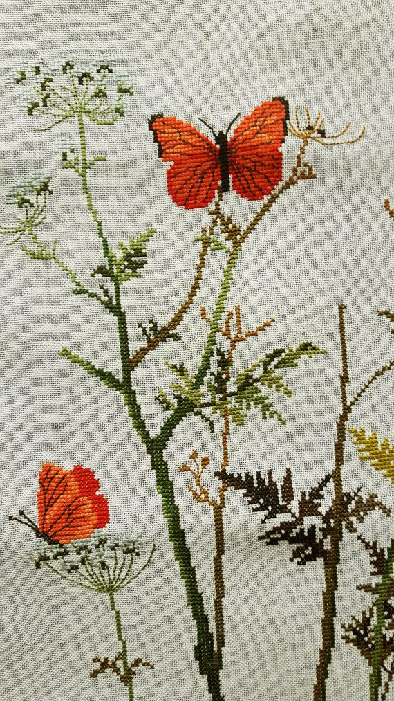 Vintage cross stitch embroidered picture ready to frame | Pinterest ...