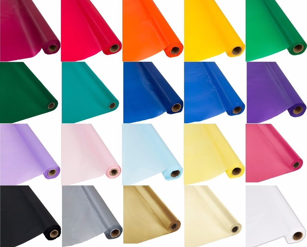 Plastic Banquet Party Table Cover Roll   300 Feet Long   Available In 20  Colors!